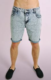 Bleached Slim Fit Acid Wash Denim Shorts